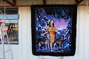 INDIAN LADY AND WOLVES WOLF SPIRIT QUEEN SIZE BLANKET