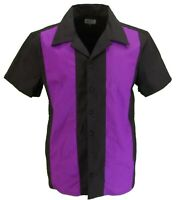 Retro Purple Black Rockabilly Bowling Shirts