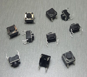 10Pcs 6x6x5mm SPST Momentary PCB Mount Tactile Switch