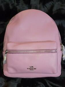 NWT COACH MED CHARLIE TULIP PINK  SILVER ZIPPER LEATHER  BACKPACK~FREE US S&H
