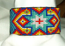 "Beaded Cuff Bracelet Geometric 1.5"" W x 8"" L Leather Backed FREE SHIPPING #26"