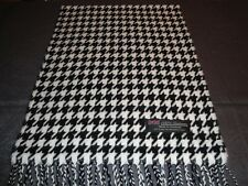 100% Cashmere Scarf Soft 72X12 White Black HoundsTooth Scotland Wool Men Wrap