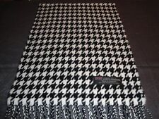 2PLY 100% Cashmere Scarf Soft White Black HoundsTooth Scotland Wool Men Wrap