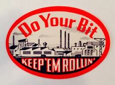 """Original Home Front WWII """"Do Your Bit"""" Decal  DEC-0141"""