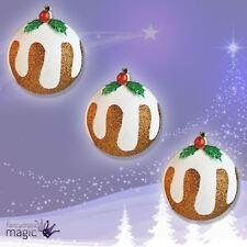 NUEVO DAVIES Productos 3x 8cm con Purpurina Navidad Pudin Bolas