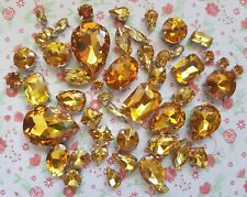 50pcs Mixed Sew On GOLD Crystal Glass Diamante Claw Set Rhinestone Gem Bling