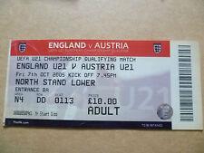 Billete-UEFA U-21 partido del campeonato que cumplen los requisitos Inglaterra v Austria, 07 de octubre de 2005