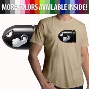 Bullet Bill Super Mario Retro Mens Tee Unisex T-Shirt Gift Gamer S-3X