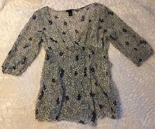 Women's Sheer Top H&M Size 12 V Neck Side Zip 3/4 Sleeve T4