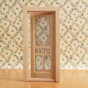 1:12 Scale Dollhouse Miniatures Wood Plain hollow screen door decors