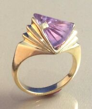 WOMEN'S 14K YELLOW GOLD STRELLMAN'S RING,  LENS CUT LAVENDER SPINEL, SZ 6.75