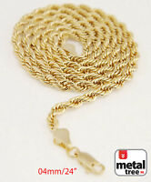 """Men's Women's 14K Gold Plated 4mm Rope Chain Necklace 24"""" for Micro Mini Pendant"""