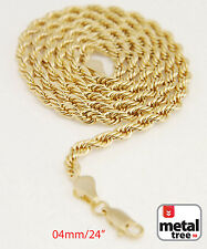 "Men's Women's 14K Gold Plated 4mm Rope Chain Necklace 24"" for Micro Mini Pendant"