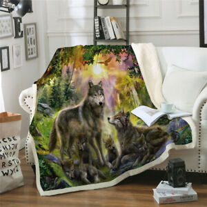 Wolf Printed Warm Soft Sherpa Fleece Blanket Throw Rug for Sofa Couch Bed US