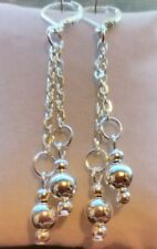 Sterling Silver Lever Back Earrings Silver Ball Drop Dangling With 925