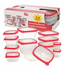 24 Pcs Stackable Nesting Food Storage Containers Coloured Lid Plastic Lunch Box