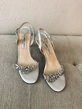 87fc6605aaa JIMMY CHOO Sandals Silver Leather Heels Slingback w  CRYSTALS Wedding  Bridal 38