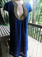 TRINA TURK navy BLUE GOLD STUDS embellishment crochet lace cotton DRESS lined L