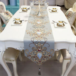 Modern Luxury Jacquard Damask Floral Table Runners and Dresser Scarves