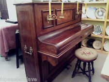 PIANO VERTICAL con Banqueta siglo XlX CAOBA Marqueteria Antiguo Lujoso Taracea