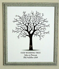 Framed Fingerprint Wedding Tree Signature Board-Guest Book- FREE INKPAD