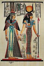 Egyptian Hand-Painted Papyrus Artwork: Isis Leading Queen Nefertari SIGNED