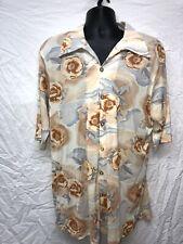 Flair from California 1970s Disco Leisure Shirt Xxl 2Xl Floral Shell Button