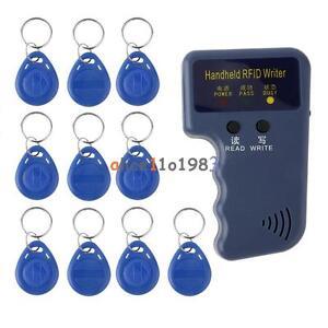 125KHz Handheld RFID Writer/ Copier/  Readers/ Duplicator With 10PCS ID Tags