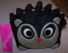 Betsey Johnson HEDGEHOG Cosmetic Case Bag BLACK/SILVER/WHITE ~ NWT $48