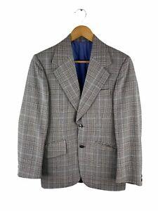VINTAGE John Halifax Button Up Blazer Jacket Mens Size 34 Grey Brown Sportscoat