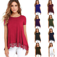 Women Lace Short Sleeve Casual Swing Loose Tunic Top Blouse T-Shirt Summer Dress
