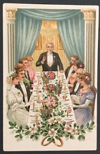 Vintage Postcard with Wedding Party Dinner, Series 729