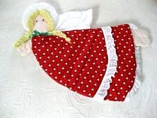 Vtg. 1970's Handmade Cotton Quilted ANGEL Wall Hanging Xmas Lace Hearts Red #n