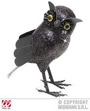 Schwarze Glitzer-Eule Figur 18,5 cm Black Owl Halloween Deko Gothic 127856P13