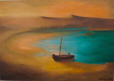 Desert Waters Original oil on canvas of turquoise sea, gold sand, old boat by JJ