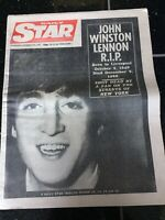 John Lennon Obituary Front Page Newspaper The Beatles Daily Star 10/12/1980