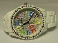 Betsey Johnson White Bracelet Crystal Bezel Gold Accent Watch