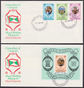 Grenadines of Grenada 1st Day Covers 1981 Royal Wedding Charles Diana (T_22)