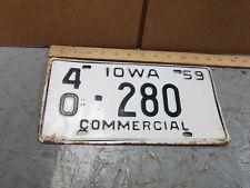 "1959 VINTAGE IOWA LICENSE PLATE HAMILTON COUNTY IOWA "" COMMERCIAL """