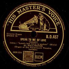 Al bollington-Theatre organo-Speak to Me of Love/escapada 78rpm s7862