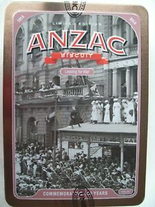 """ANZAC TIN """"LEAVING FOR WAR"""" NO BISCUITS. HAS LETTER. 2014"""
