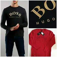 Hugo Boss Long Sleeve Crew Neck Cotton Men's T-Shirt Tee Black Wine Red RRP £78