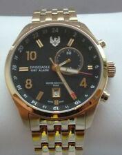 Swiss Eagle Luxus Excutive Swiss Made Flieger GMT Alarm Gold Uhr Neu UVP: 995 €