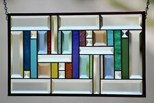 """Multi-Colored Beveled Stained Glass Window Panel- Hanging ≈19 1/2"""" 10 1/2"""""""