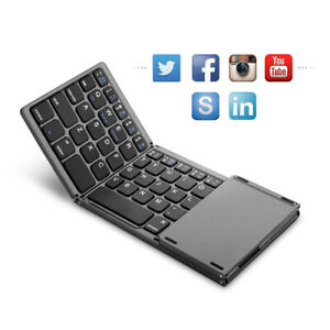 Foldable BT keyboard, BT and USB wired rechargeable portable wireless keyboard