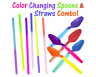 15, 25, 50, 100 Pack - Color Changing Spoons & Straws Combo! FUN Party Reusable