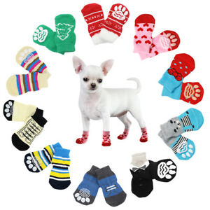 4pcs Soft Pet Dog Socks Warm Puppy Cat Winter Indoor Shoes 10 Colors Chihuahua