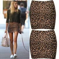 Summer Womens Sexy Animal Leopard Print Pencil Ladies Bodycon Dress mini-skirts