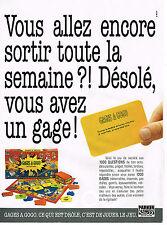 PUBLICITE ADVERTISING 064 1991  PARKER   jeux de société  GAGES A GOGO