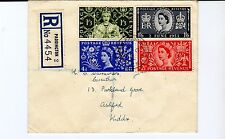 GB 1953 CORONATION Stamps Set  Regist FIRST DAY COVER Paddington PMK RE:963